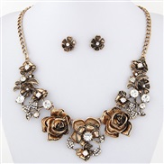 ( bronze color) occidental style fashion  Metal concise wealth flowers temperament necklace  ear stud set