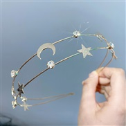 ( Five pointed star  Moon)occidental style wind Double row Metal Headband sweet flowers Five-pointed star Moon head pers