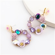 ( Purple color )fashionins Acrylic diamond resin flowers earrings woman occidental style Bohemia Earring