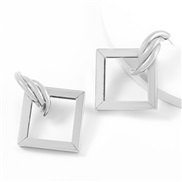 ( Silver)ins brief Metal square Alloy earrings woman occidental style exaggerating geometry arringearrings