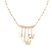 ( Gold)Korean style temperament gold butterfly heart-shaped pendant necklace   occidental style Street Snap trend woman