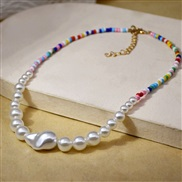 ( white)Bohemia spring summer necklace woman retro beads Pearl ethnic style beads clavicle chain