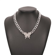 ( White K)occidental style head punk wind chain necklace Alloy diamond butterfly fashion personality clavicle chain