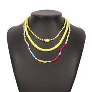 ( Color) Bohemia ethnic style beads necklace  women fashion brief Alloy imitate Pearl clavicle chain