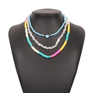 ( Color)occidental style Bohemian style multilayer Pearl necklace  women creative color ethnic style personality clavicl