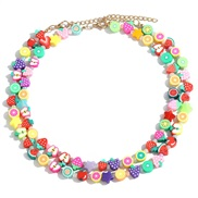 Korean style retro color ethnic style Double layer necklace candy colors watermelon fruits handmade chain gift wom