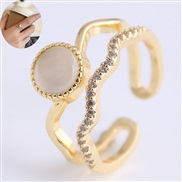 fine Korean style fashion sweetOL concise embed Zirconium accessories personality opening ring