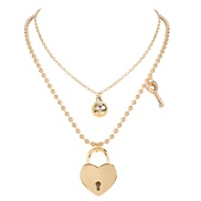 ( Gold)personality retro beads chain love head pendant multilayer  occidental style fashion wind necklace woman
