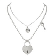 ( Silver)personality retro beads chain love head pendant multilayer  occidental style fashion wind necklace woman