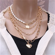( necklace  Gold)occidental style necklace retro temperament personality chain Pearl chain natural brief Double layer lo