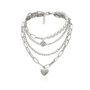 ( necklace  Silver)occidental style necklace retro temperament personality chain Pearl chain natural brief Double layer