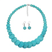 (S)Bohemian style handmade beads turquoise short clavicle necklace occidental style retro chain set