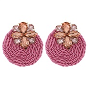 ( Pink) occidental style fashion personality arring Round ear stud handmade weave earringsearrings