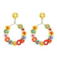 occidental style woman earrings Alloy beads twining creative arring beads handmade weave flowers earring fashion