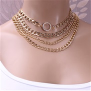 ( Gold  necklace)occidental style  exaggerating punk trend multilayer  fashion diamond circle aluminum chain necklace wo