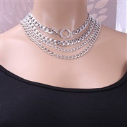 ( Silver   necklace)occidental style  exaggerating punk trend multilayer  fashion diamond circle aluminum chain necklace