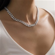( Silver )occidental style  head geometry  brief personality Metal buckle head chain necklace