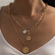 ( Gold  )occidental style  brief necklace woman  imitate Pearl beads chain chain