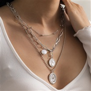 ( Silver  )occidental style  brief necklace woman  imitate Pearl beads chain chain