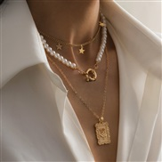 ( Gold )occidental style ins wind star beads chain woman  brief rose pendant necklace