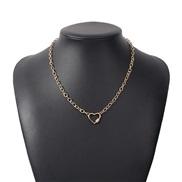 ( Gold)occidental style fashion Alloy diamond love necklace  temperament retro Alloy chain personality buckle chain
