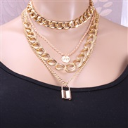 ( necklace  Gold)occidental style  all-Purpose multilayer twisted chain Word woman  love buckle temperament clavicle cha