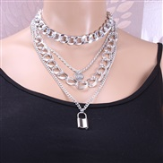 ( necklace  Silver)occidental style  all-Purpose multilayer twisted chain Word woman  love buckle temperament clavicle c