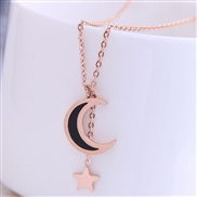 fine Korean style fashion titanium steel sweet Moon and stars personality woman necklace