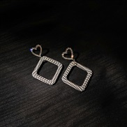( Silver needle  Silver)silver Korea big fashion diamond hollow love earrings personality Stripe square earring