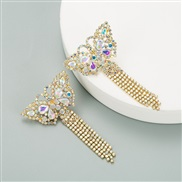 ( white) occidental style butterfly temperament personality ear stud color Rhinestone long style claw chain tassel earri