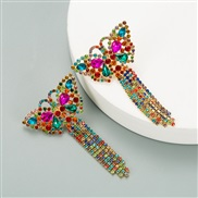 ( Color) occidental style butterfly temperament personality ear stud color Rhinestone long style claw chain tassel earri