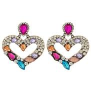 (Ligh  Color)occidental style  lady retro palace heart-shaped diamond earrings creative temperament ear stud