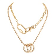 ( Gold) fashion key buckle clavicle chain   occidental style retro Alloy cirque pendant necklace