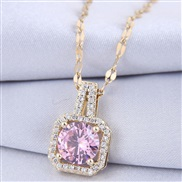 fine  occidental style fashion   concise square zircon personality woman necklace