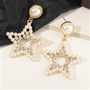 (EZ ) occidental style fashion  elegant temperament geometry Round Five-pointed star Earring Pearl love earrings
