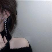 ( Silver needle  Silver)silver diamond bow zircon tassel ear stud brief fashion long style earrings wind Earring