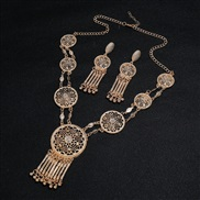 ( Gold)occidental style palace retro carving long style hollow tassel necklace earrings set