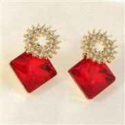 (EZ dahong) occidental style fashion  brief personality geometry ear stud Earring square diamond earrings woman