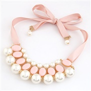 European and American big gorgeous pearl shining jewel Korean ribbon necklace fake collar temperament