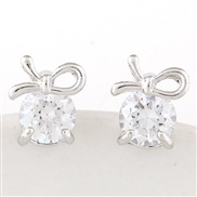 Exquisite Korean fashion sweet bow earrings zircon personality
