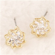 OL delicate Korean version of sweet personality flash zircon earrings Bauhinia