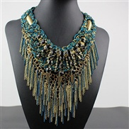 occidental style exaggerating short style necklace woman  ethnic style Alloy diamond multilayer tassel  beads handmade