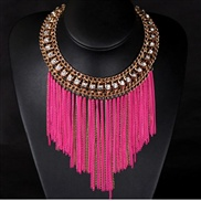 European and American big exaggeration short fluorescent color tassel chain necklace
