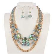 European and American handmade glass crystal beaded chain women take a multi-layer necklace
