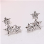 fine  Korean style fashion sweetOL lucky Star zircon personality temperament ear stud( hypoallergenic ear stud)