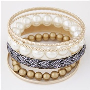 occidental style  trend Metal Pearl temperament multilayer bangle
