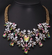European and American fashion big bright flower color crystal gem necklace short clavicle exaggerated
