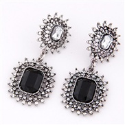European and American fashion wild bright metal gemstone earrings temperament exaggerated