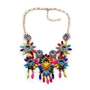 occidental style sweater  fashion crystal necklace short style exaggerating high-end sweater chain