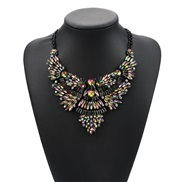 occidental style fashion fashion Colorful gem mosaic Alloy short style flowers necklace color